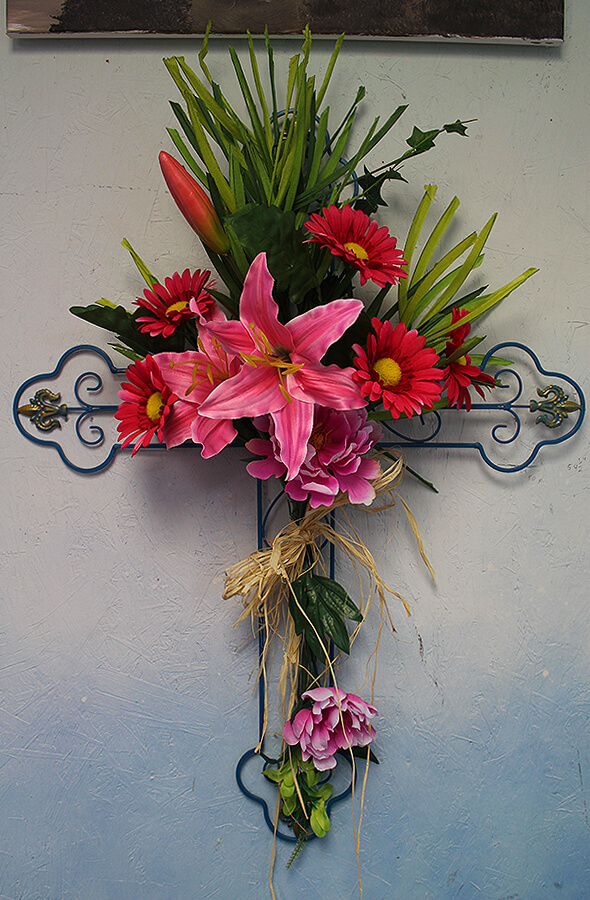 Cross with Pink Flowers